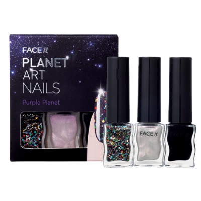 Face It Planet Art Nails 01 Purple Planet, 4ml each, SGD11.30