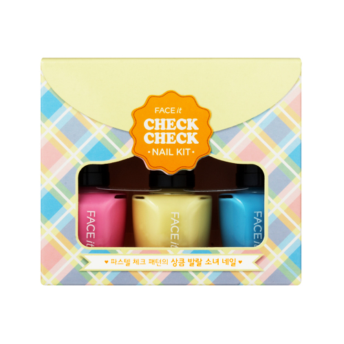 Face It Check Check Nail Kit 01 Pastel Check, 10ml*3, SGD13.10