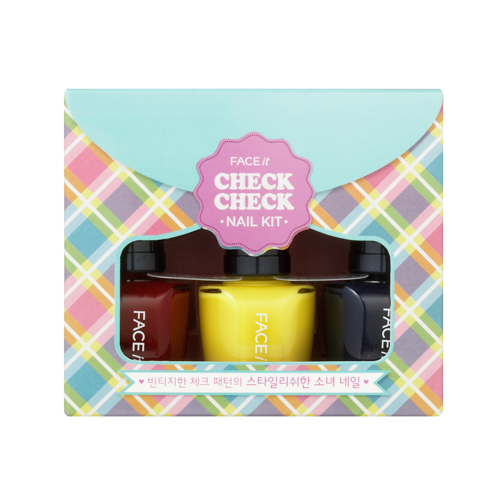 Face It Check Check Nail Kit 02 Vintage Check, 10ml*3, SGD13.10